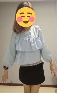 Blue checkered babydoll top