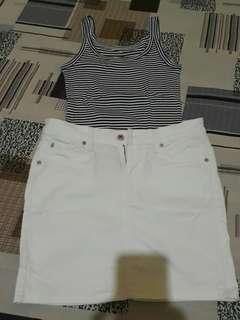 Bundle sleeveless gap/levis skirt