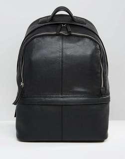 ASOS Black Leather Harvard Backpack