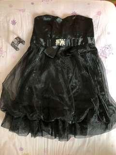 🚚 黑色鑲鑽緞面澎裙後綁帶短禮服/裙
