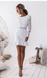 Two Sisters white backless lace dress buy/rent
