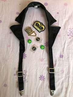 🚚 古著配件/香港製黑色可調吊帶