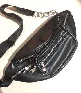 Faux leather black Fanny pack