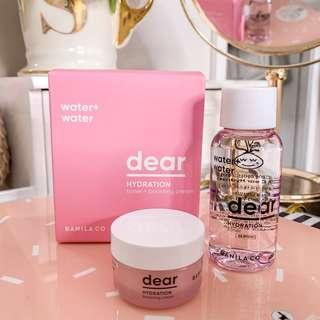 Banila co dear hydration toner and boosting cream set • travel size it comes with cotton and cute pink box • korean beauty Cosmetics • k beauty make up skincare / moisturizer & toner