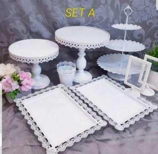 Dessert Table stand, cake stand, dessert plates for Rent