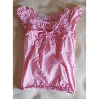 Little Miss Pink Butterfly Sleeve Blouse (24 mos)