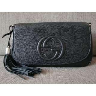 Authentic Gucci GG Soho Leather Chain Crossbody Bag Black