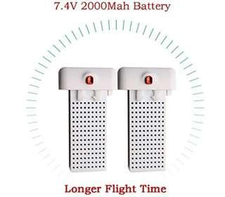 1🔥2PCS 7.4V 2000mAh Lithium Battery for Syma X8SW X8SC RC Quadcopter Drone Longer Fly Time
