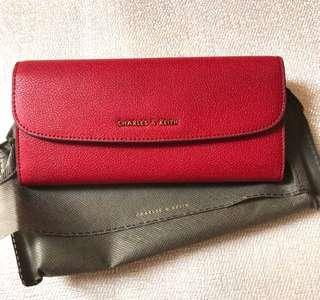 Charles keith red wallet