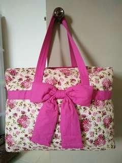Naraya pink colour flower Hand carry bag