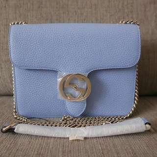 Authentic Gucci Interlocking GG Chain Leather Crossbody Bag Baby Blue