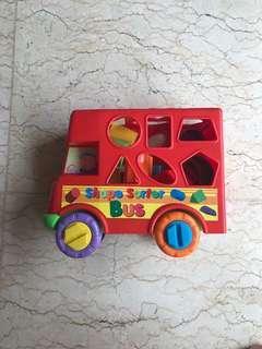 Preloved mainan anak shape sorting branded fun time