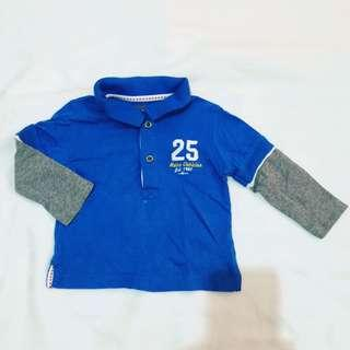 Mothercare Longsleeves Polo Shirt Top 6-9 months
