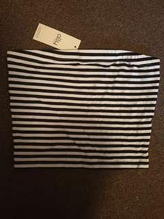 Ally Black White Striped Crop Top BNWT Size Small