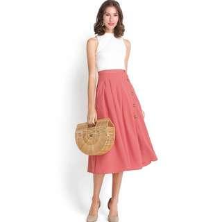 Blushing Bride Button Down Skirt In Apricot