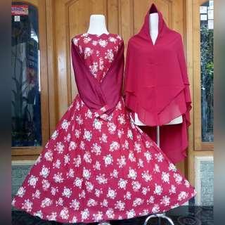 🚚 Jubah long dress baju with khimar set