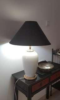 Old brass and porcelain lamp