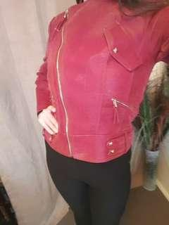 Burgundy Faux Suede Jacket Size 8 New