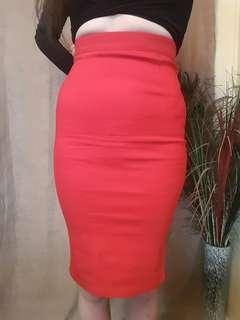 Luvalot Red High Waist Skirt New Size 8