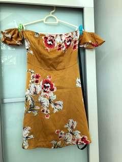 Mustard Off Shoulder Dress
