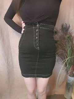 Guess Black High Waist Denim Skirt XS Good Condition