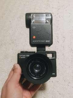 Kamera Analog Agfa Optima 335 Sensor + Flash Agfatronic 202