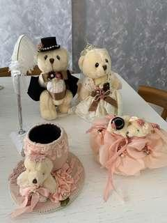 Bundle deal- wedding bears, ring pillow and ROM pen with stand