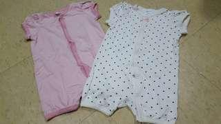 Pre-loved clothes H&M Onesies with sleeves 6-9mons old (bundle4)
