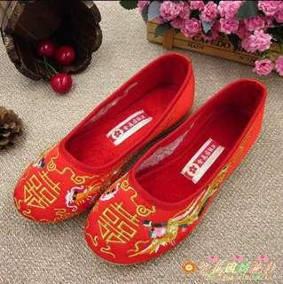 Embroidery Kua Red Wedding Flats Shoes