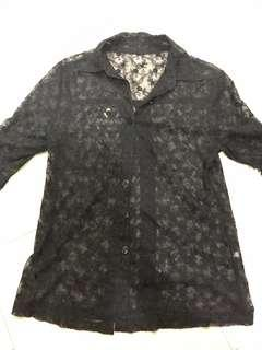 Lacy collared button down shirt