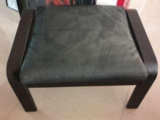 Ikea Poang dark wood footstool with leather cushion