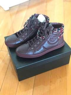 Chanel burgundy boots with tweed