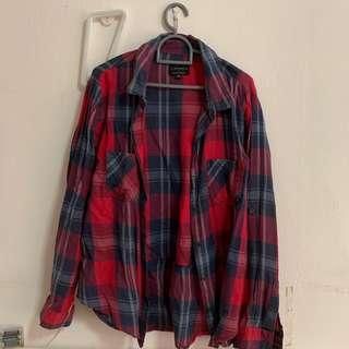 🚚 (instock) cotton on red, black & white checkered flannel outerwear