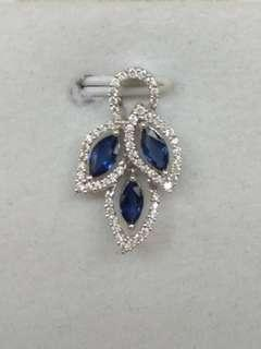 18K White Gold Sapphires with Diamonds Pendant