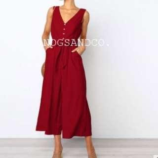 NC1539 Belted Buttons Jumpsuit (Red/Black/Navy)