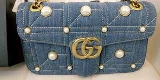 GUCCI pearl jeans chain bag