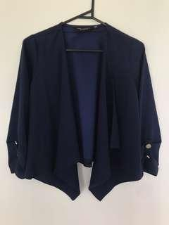 Navy cropped waterfall jacket | Dorothy Perkins | size 6