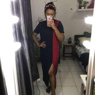 Long dress navy red