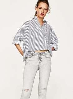 Authentics ZARA Striped Top with Faux Pearl
