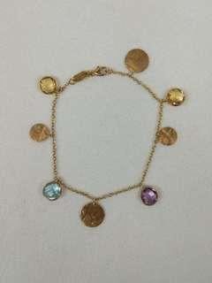 18K Yellow Gold Amethyst,Blue Topaz and Citrine Bracelet