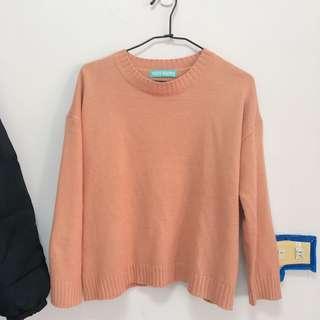 🚚 二手 針織上衣 珊瑚粉 *兩件折30