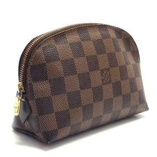 5a167dff0006 🔥SALE🔥 Authentic LOUIS VUITTON Pochette Cosmetic Pouch Damier Leather  Brown