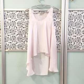🚚 Sheer Pink Asymmetrical Sleeveless Blouse Top High Low Translucent