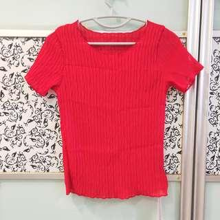 🚚 BNWT Red Stretchable Blouse Top T Shirt Short Sleeves Tee