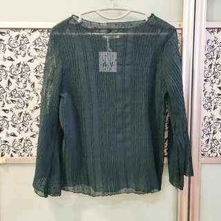 🚚 BNWT Dark Green Patterned Stretchable Long Trumpet Sleeves Blouse Top