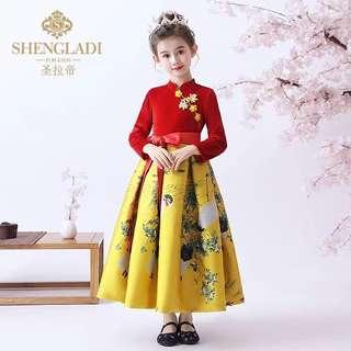 59341a2aaef Girls cheongsam spring Chinese style New Year s clothing baby female thick  children Tang suit Chinese New