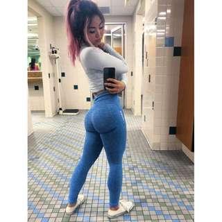 a51cfc407bfeb Gymshark high waist seamless cropped leggings in blue marl