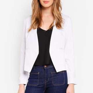 ZALORA Collarless White Stripe Blazer (Size M)