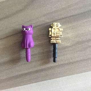 🚚 Gold robot and purple cat mobile handphone phone plugs