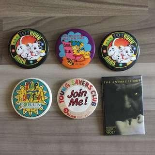 🚚 FREE! #blessing vintage bag collection pins badges 101 Dalmatians Garfield forum ocbc